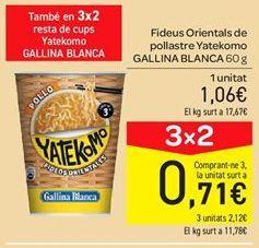 Oferta de Fideos orientales de pollo Yatekomo Gallina Blanca por 1.06€