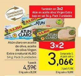 Oferta de Atún claro en aceite de oliva, aceite de oliva virgen extra o natural Albo por 4.59€