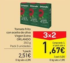 Oferta de Tomate frito con aceite de oliva virgen extra Orlando por 2.51€