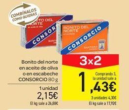 Oferta de Bonito del norte en aceite de oliva o en escabeche Consorcio por 2.15€