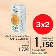 Oferta de Bebida de avena bio Soria Natural por 1.72€