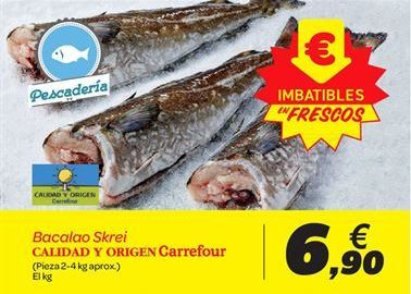 Oferta de Bacalao Skrei Calidad y origen Carrefour por 6.9€