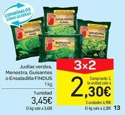 Oferta de Judías verdes, menestra, guisantes o ensaladilla Findus por 3.45€