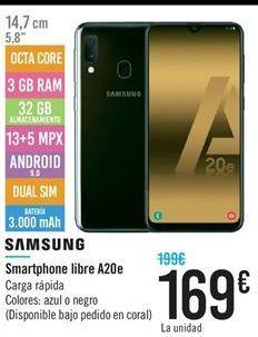 Oferta de Smartphone libre A20 e por 169€