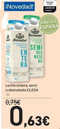 Oferta de Leche entera, semidesnatada o desnatada Clesa por 0.63€
