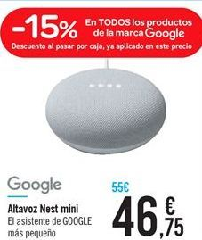 Oferta de Altavoz Nest mini por 46.75€