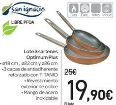Oferta de Lote 3 sartenes Optimum Plus por 19.9€