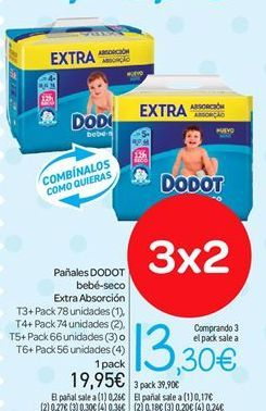 Oferta de Pañales DODOT bebé-seco Extra Absorción por 19.95€