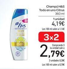 Oferta de Champú todo en uno citrus h&s por 4.19€