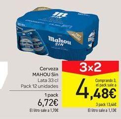 Oferta de Cerveza Mahou sin alcohol  por 6.72€