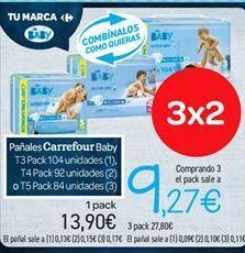 Oferta de Pañales carrefour baby por 13.9€