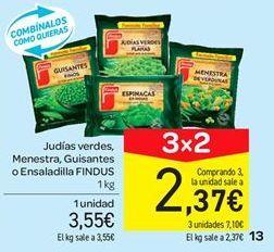 Oferta de Judías verdes, menestra, guisantes o ensaladilla Findus por 3.55€