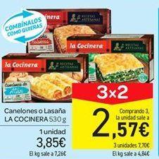 Oferta de Canelones o lasaña La Cocinera por 3.85€