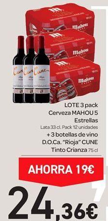 Oferta de Pack 3 cerveza mahou + 3 botellas de vino por 24.36€