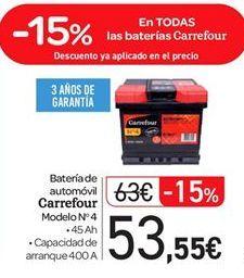Oferta de Bateria de automóvil Carrefour por 53.55€