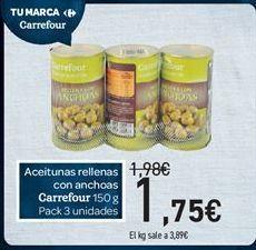 Oferta de Aceitunas rellenas de anchoa carrefour por 1€