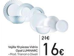 Oferta de Vajilla 19 piezas Vidrio Opal LUMINARC por 16€