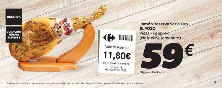 Oferta de Jamón Reserva Serie Oro El Pozo por 59€