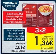 Oferta de Mini taquitos de jamón curado carrefour por 2.01€