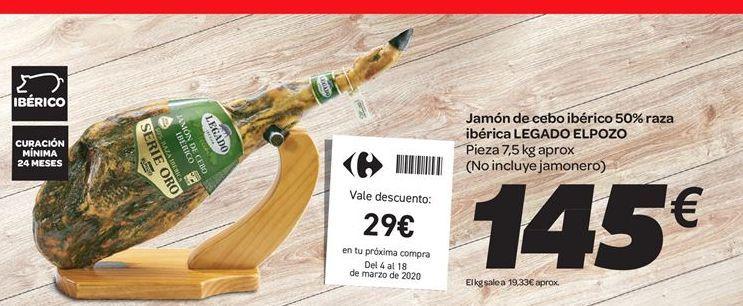 Oferta de Jamón de cebo ibérico 50% raza ibérica Legado El Pozo por 145€