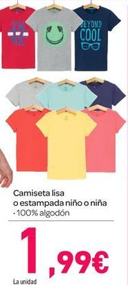 Oferta de Camiseta lisa o estampada niño o niña por 1.99€