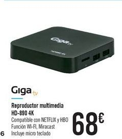 Oferta de Reproductor multimedia HD-890 4K por 68€