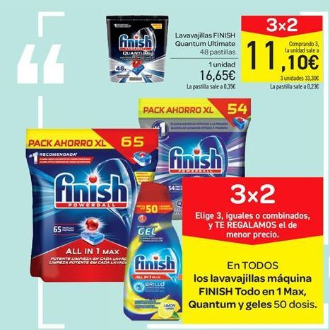 Oferta de Lavavajillas FINISH Quantum Ultimate por 16.65€