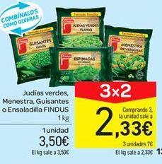Oferta de Judías verdes, menestra, guisantes o ensaladilla Findus por 3.5€