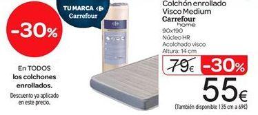 Oferta de Colchón enrollado Visco Medium Carrefour por 55€