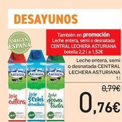 Oferta de Leche entera, semidesnatada o desnatada Central Lechera Asturiana por 0.76€
