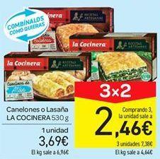 Oferta de Canelones o lasaña La Cocinera por 3.69€