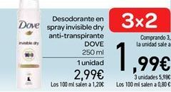 Oferta de Desodorante en spray invisible dry anti-transpirante Dove por 2.99€