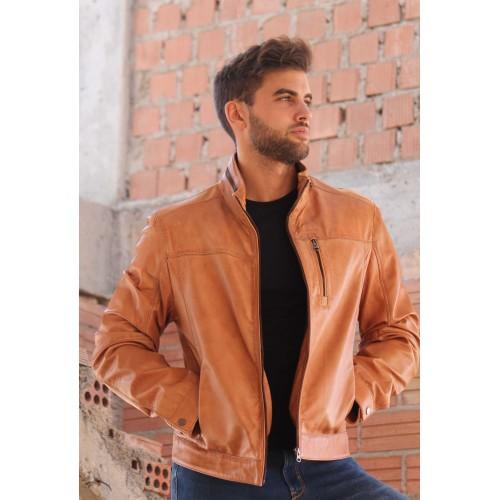Oferta de Chaqueta de cuero natural para hombre de diseño casual por 183.2€