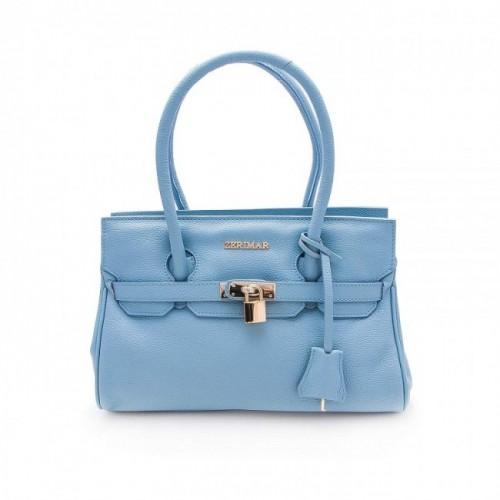 Oferta de Bolso de piel natural en color azul marino 20x32x12 cm por 97.3€