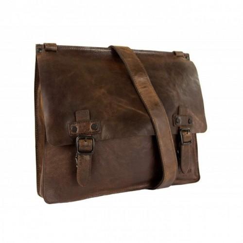 Oferta de Bolso bandolera vintage de cuero 32,5x39x7 cm por 90.3€