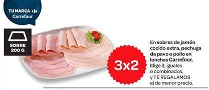 Oferta de Lonchas de jamón cocido extra, pechuga de pavo o pollo carrefour  por