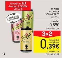 Oferta de Tónica o cítricos Schweppes por 0.59€