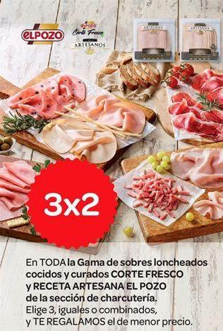 Oferta de Gama de sobres loncheados cocidos y curados Corte fresco y receta Artesana El Pozo de la selección de charcutería por