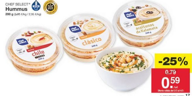 Oferta de Hummus chef select por 0.59€