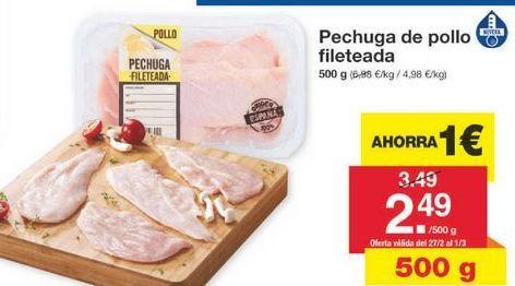 Oferta de Pechuga de pollo por 2.49€