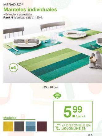 Oferta de Mantel individual Meradiso por 5.99€