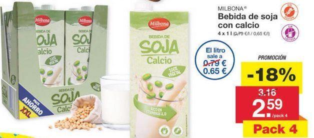 Oferta de Bebida de soja Milbona por 2.59€
