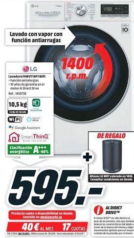 Oferta de Lavadora carga frontal LG por 595€