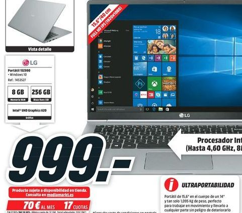 Oferta de Ordenador portátil LG por 999€