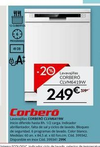 Oferta de Lavavajillas Corberó por 249€