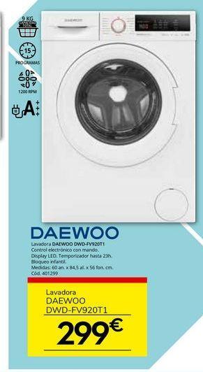 Oferta de Lavadora carga frontal Daewoo por 299€