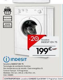 Oferta de Secadoras Indesit por 199€