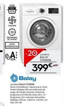 Oferta de Lavadora carga frontal Balay por 399€