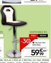 Oferta de Taburete alto por 59.99€