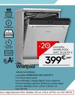 Oferta de Lavavajillas Whirlpool por 399€